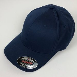 32341fad5318a FlexFit solid navy baseball cap hat